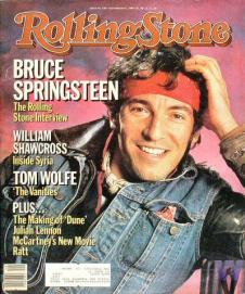 Rolling Stone, No. 436 (1984). Mouth open & smiling.