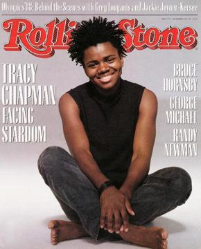 Rolling Stone, No. 535 (1998). Mouth open & smiling.